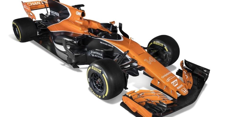 Carro da McLaren tem a chamada barbatana de tubarão e uma asa dianteira bem trabalhada