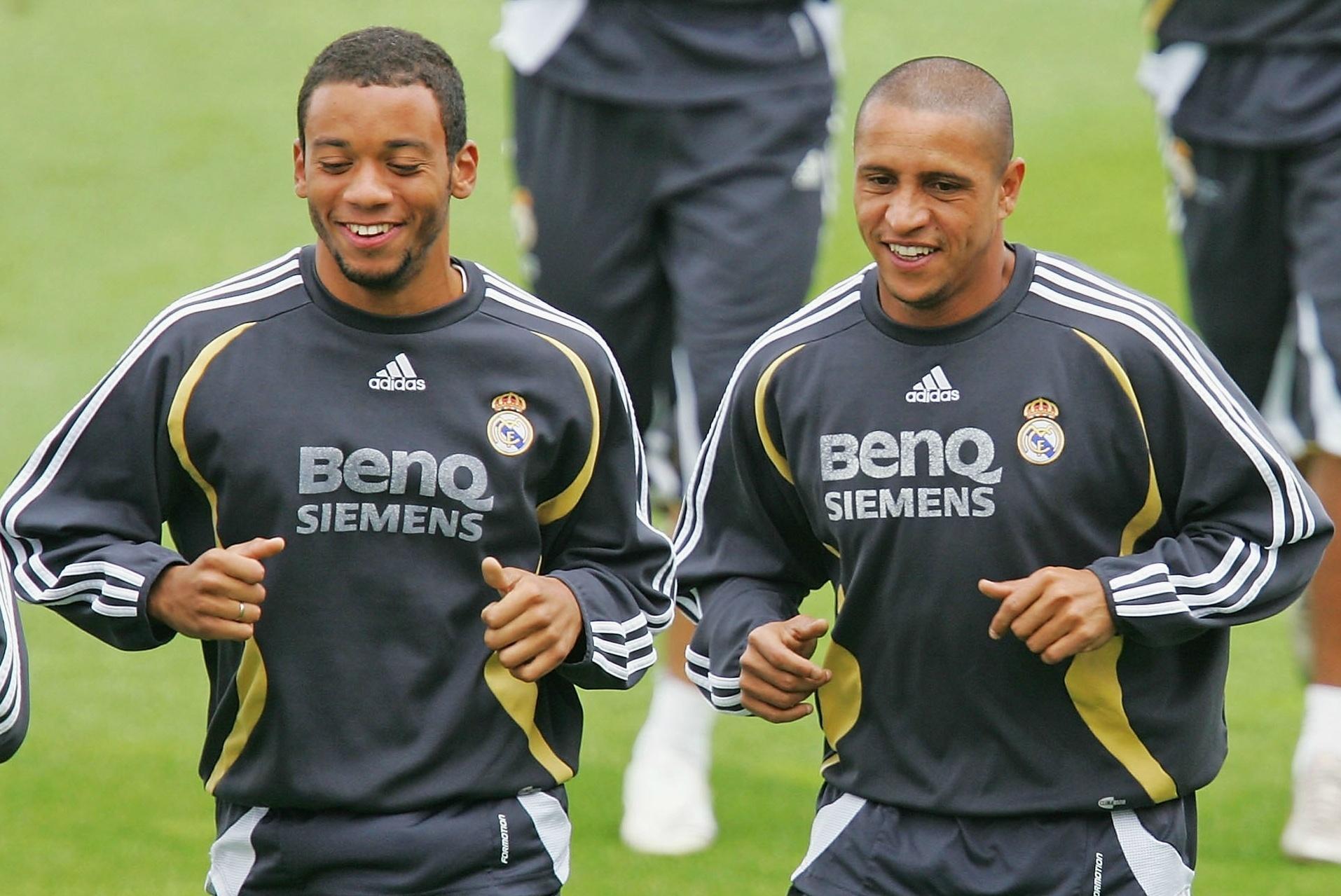 Marcelo e Roberto Carlos treinaram juntos no Real Madrid em 2007