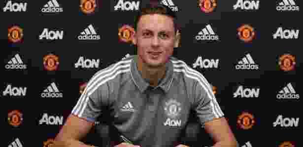 Matic em sua apresentação no United; jogador veio do Chelsea - Divulgação/Manchester United
