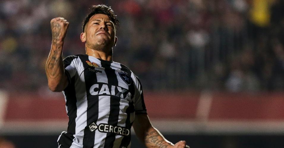 Leo Valencia comemora gol do Botafogo sobre o São Paulo
