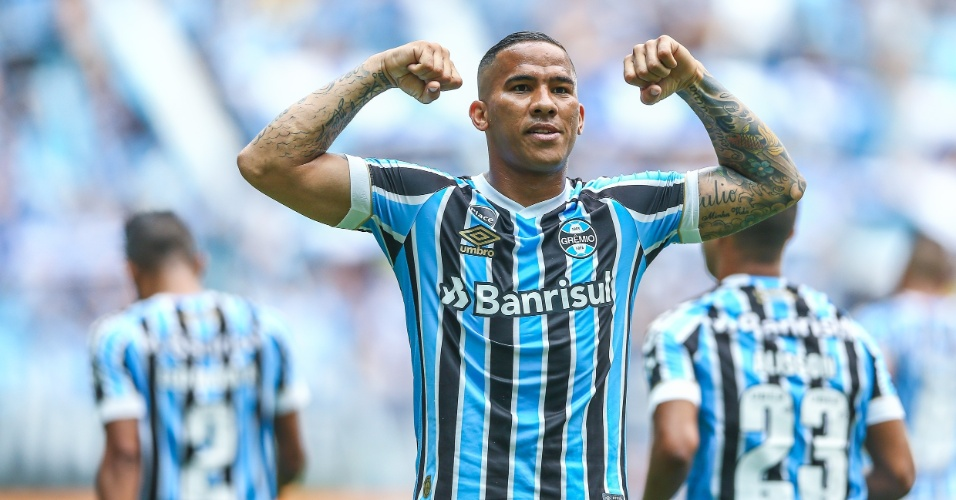 Jael comemora gol do Grêmio diante do Corinthians pela 38ª rodada do Campeonato Brasileiro 2018