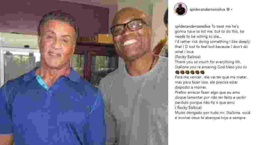 Anderson Silva posta foto com Sylvester Stallone - Reprodução