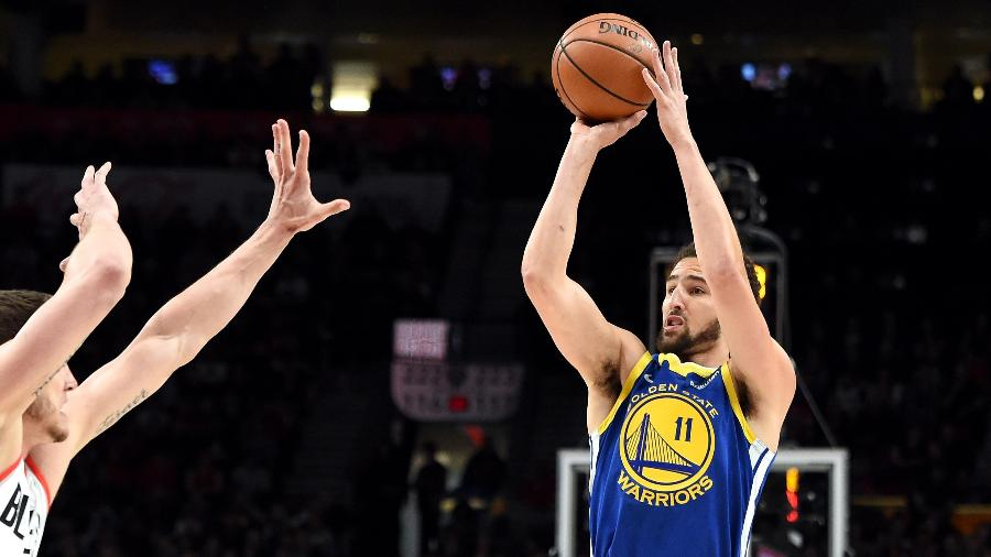 Klay Thompson durante jogo do Golden State Warriors - Steve Dykes/Getty Images/AFP