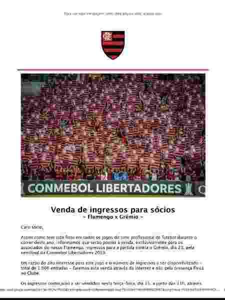 Sócios do Flamengo receberam e-mail informando sobre a venda de ingressos para jogo com o Grêmio - Reprodução - Reprodução