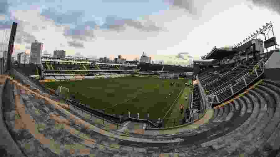 Vila Belmiro não recebeu público para o jogo entre Santos x Delfín - Marcello Zambrana/Agif