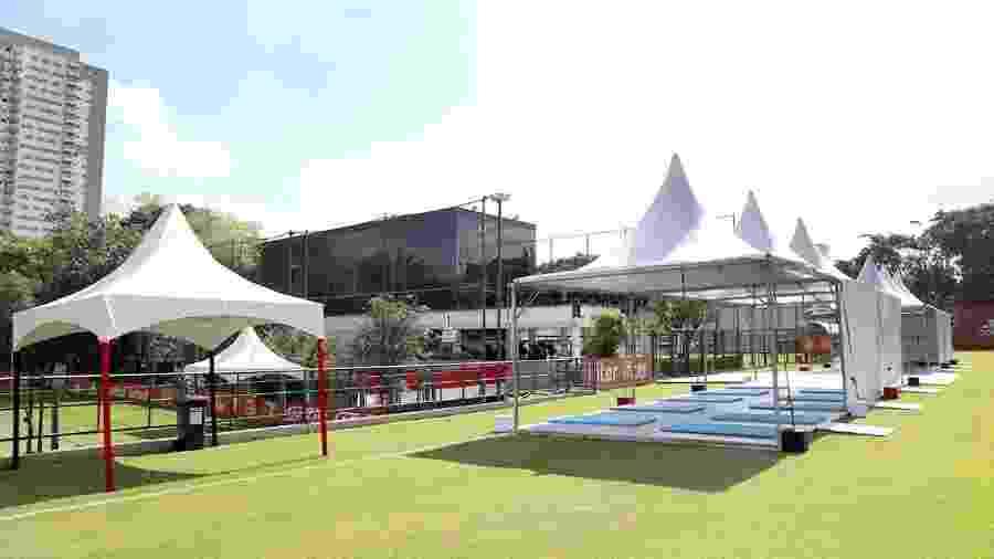 CT da Barra Funda, do São Paulo, recebeu tendas na área externa para evitar que atletas convivam em ambientes fechados - Rubens Chiri / saopaulofc.net