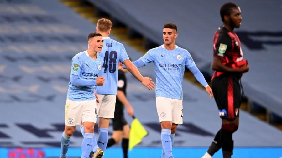 Phil Foden comemora gol do Manchester City - Laurence Griffiths/Getty Images