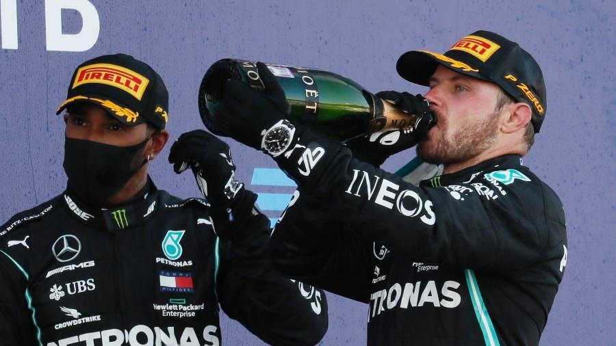 Bottas comemora vitória no GP da Rússia; Hamilton fica em terceiro - Yuri Kochetkov/Reuters