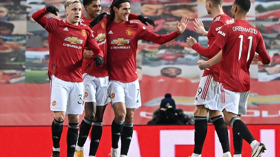 Manchester United comemora 1º gol contra o Liverpool - Laurence Griffiths / POOL / AFP