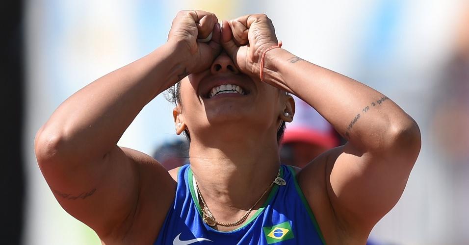 Jucilene De Lima reage depois de uma tentativa no lançamento de dardo. Brasileira terminou na terceira colocação e levou o bronze