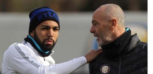 Gabigol e Stefano Pioli na Inter de Milão
