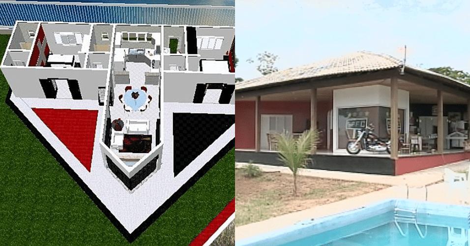 O arquiteto Ivo Sérgio Coelho construiu sua casa em Dracena-SP no formato do escudo do São Paulo