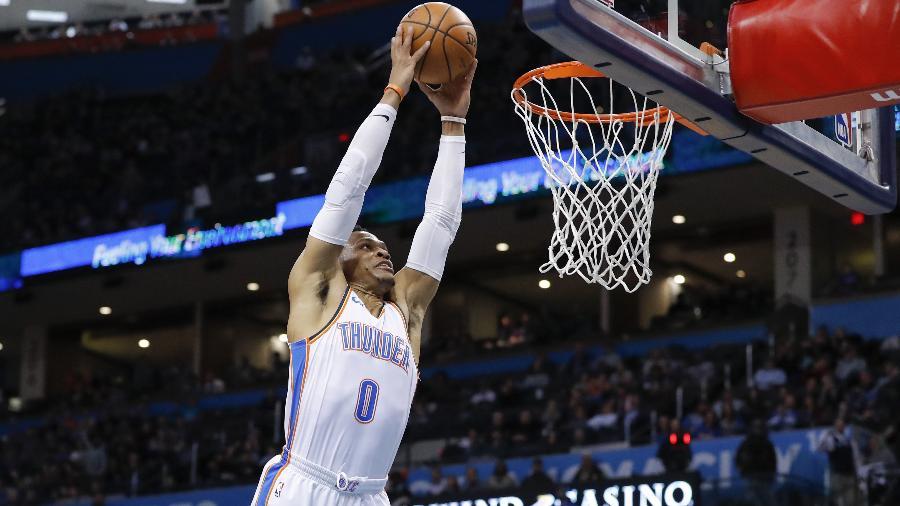 Russell Westbrook em ação pelo Oklahoma City Thunder  -  Alonzo Adams-USA TODAY Sports