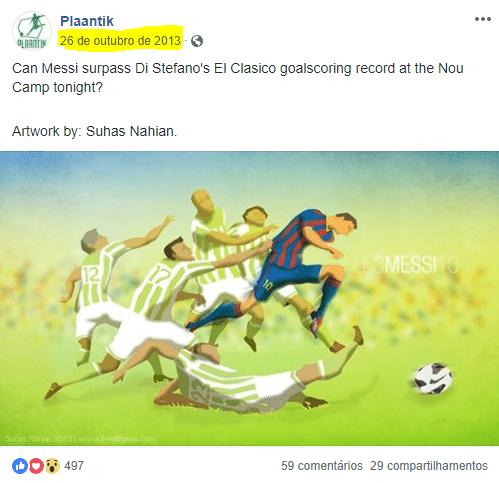 Desenho de gol de Messi foi publicado no Facebook em outubro de 2013