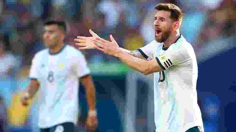 Messi em ação durante jogo da Argentina: craque tem revanche com o Chile - REUTERS/Pilar Olivares