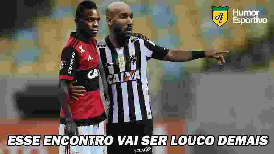 """Meme da página """"Humor Esportivo"""" mostra Balotelli no Flamengo e Anelka no Atlético-MG - reprodução/Twitter: Humor_Esportivo"""