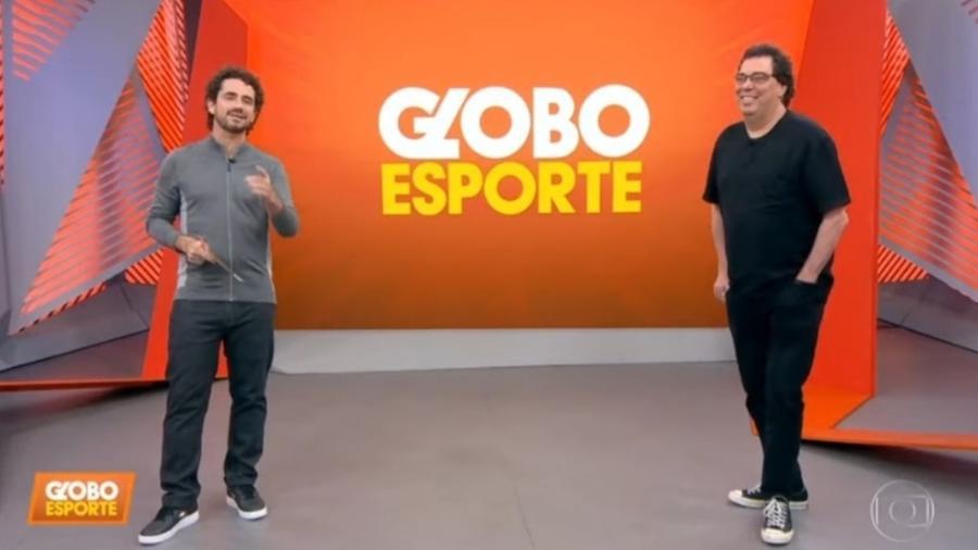 Felipe Andreoli e Walter Casagrande no Globo Esporte - Reprodução/ TV Globo