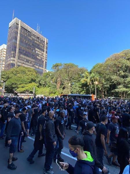 Ato de torcedores de diversas torcidas organizadas na Avenida Paulista - Reprodução
