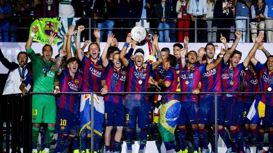 Imagem da conquista da Champions 2015 compartilhada pelo Barcelona tem Neymar em destaque  - Reprodução