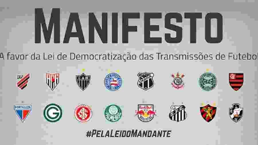 Clubes publicaram manifesto em suas redes sociais e sites - Reprodução/Twitter