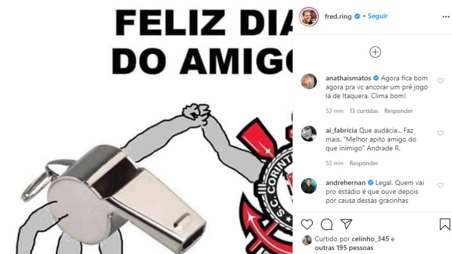 Perfil de Fred Ring no Instagram postou provocação ao Corinthians - Reprodução/Instagram