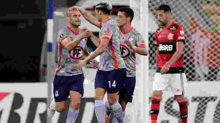 Sáez, do La Calera, comemora gol contra o Flamengo, em duelo pela Libertadores - Twitter Conmebol Libertadores - Twitter Conmebol Libertadores