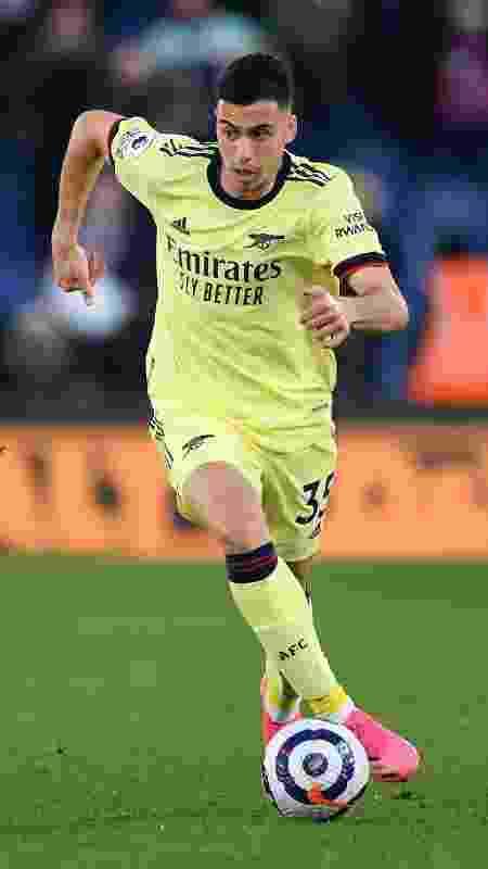 Gabriel Martinelli em ação pelo Arsenal durante partida contra o Crystal Palace em maio de 2021 - David Price/Arsenal FC via Getty Images - David Price/Arsenal FC via Getty Images