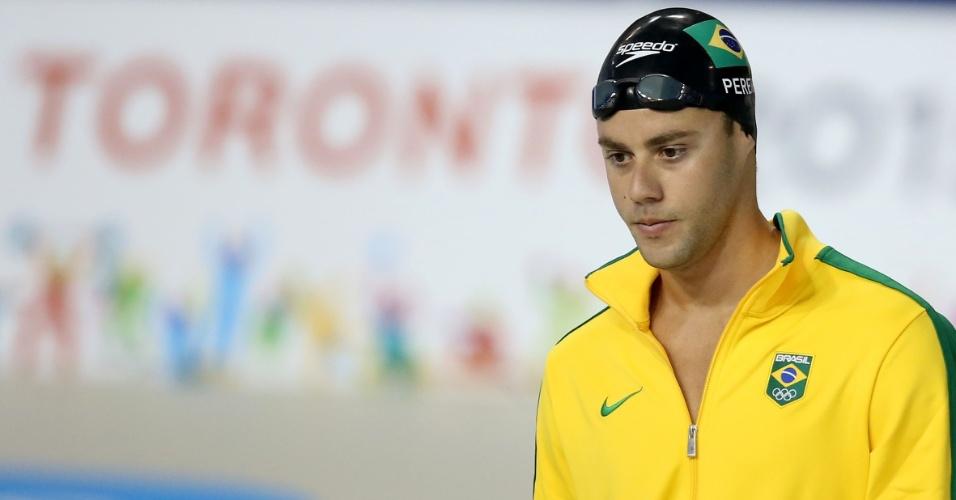 Thiago Pereira se prepara para a terceira bateria dos 400m medley