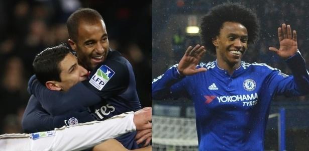 Lucas e Willian chegam em ótimo momento para duelo entre PSG e Chelsea - AFP