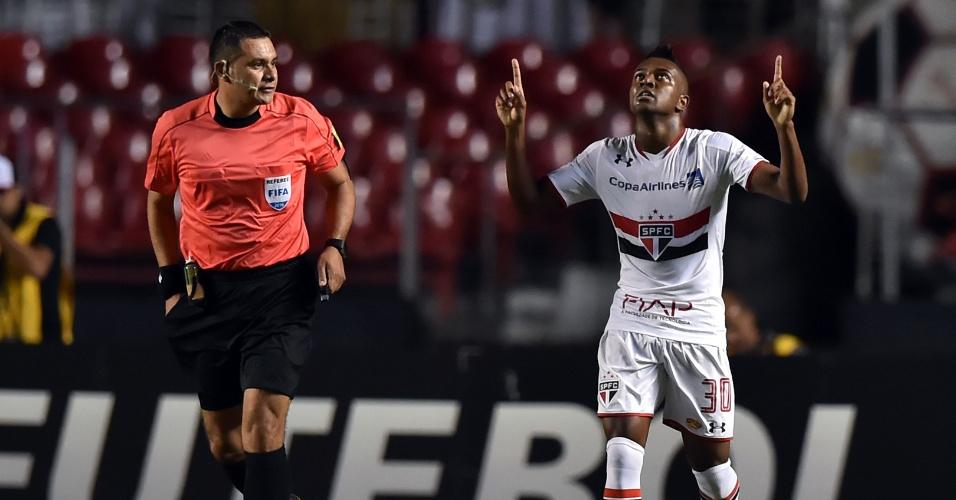 Kelvin celebra após ampliar o placar para o São Paulo contra o Trujillanos pela Libertadores da América