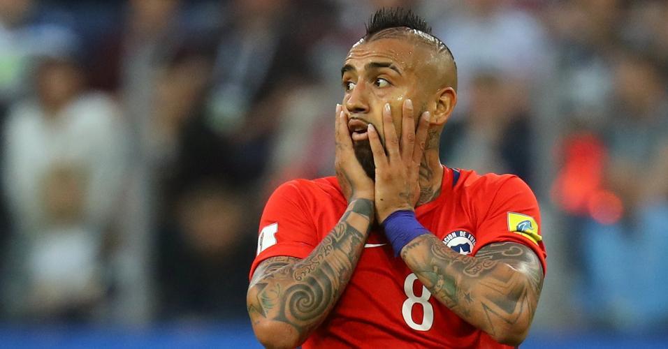 Arturo Vidal lamentou a derrota do Chile na final da Copa das Confederações