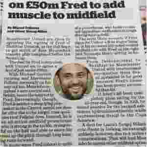 Jornal ilustrou matéria sobre volante Fred com foto de atacante Fred - Reprodução
