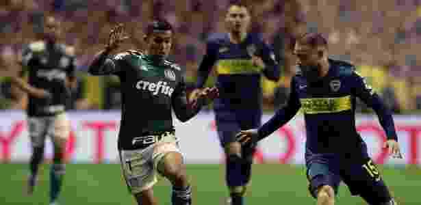 Dudu, durante partida entre Palmeiras e Boca Juniors - ALEJANDRO PAGNI / AFP