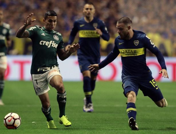 Dudu em ação durante partida entre Palmeiras e Boca Juniors - Alejandro Pagni/AFP