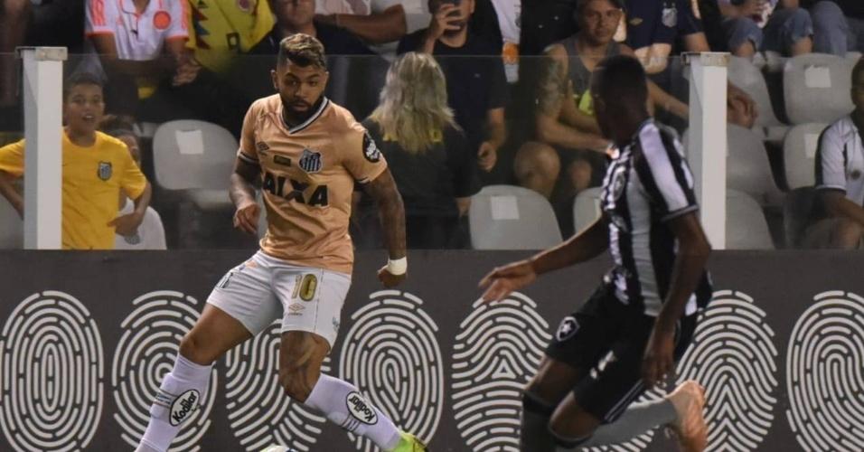 Gabriel, durante duelo entre Santos e Botafogo