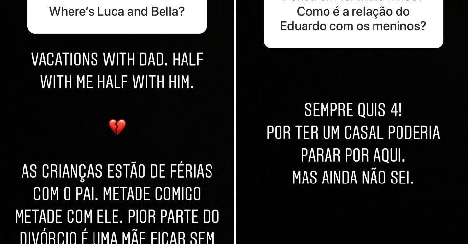 Carol Celico desabafa sobre solidão quando filhos estão com Kaká