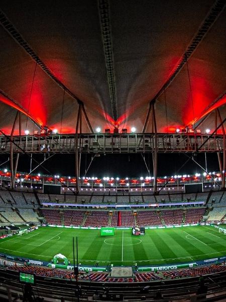 Maracanã antes de Flamengo e Grêmio, pela Copa do Brasil, que teve público - Paula Reis/CRF