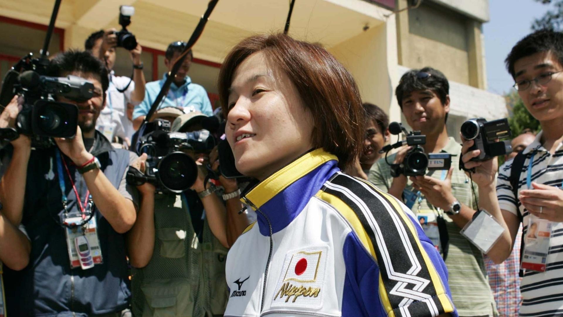 13.ago.2014 - Judoca Ryoko Tamura Tani é fotografada após treino em Atenas para a Olimpíada