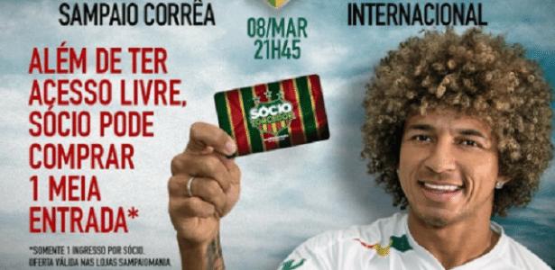 Valderrama em material promocional do Sampaio Corrêa para pegar o Inter