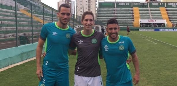 Neto, Follmann e Ruschel em treino da Chapecoense
