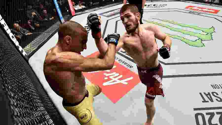 Khabib Nurmagomedov venceu Edson Barboza no UFC 219 - Jeff Bottari/Zuffa LLC/ Getty Images