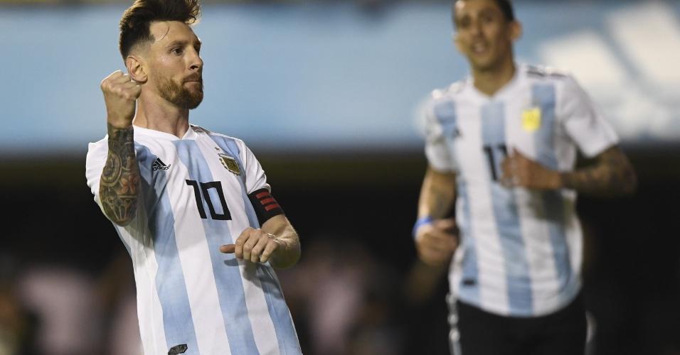 Lionel Messi comemora um de seus gols no amistoso entre Argentina e Haiti