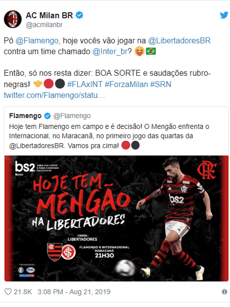 Milan desejou sorte ao Flamengo no Twitter - Reprodução/Twitter