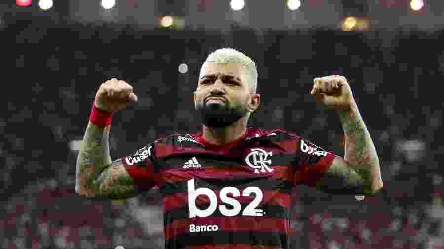 Gabigol comemora gol do Flamengo contra o Grêmio: símbolo da força do Fla - Bruno Baketa/AGIF