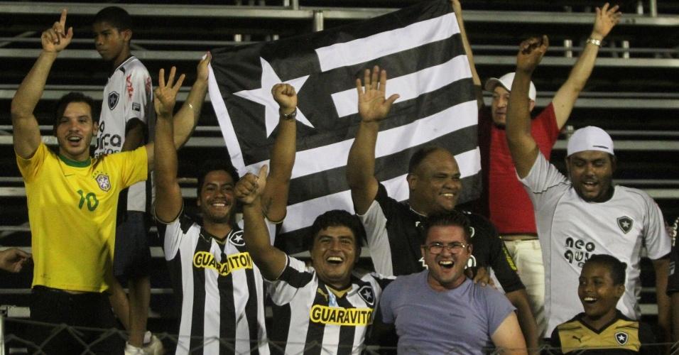 Torcida do Botafogo comemora gol da equipe contra o Luverdense, na Série B, que dá o acesso ao clube para a Série A do Brasileiro