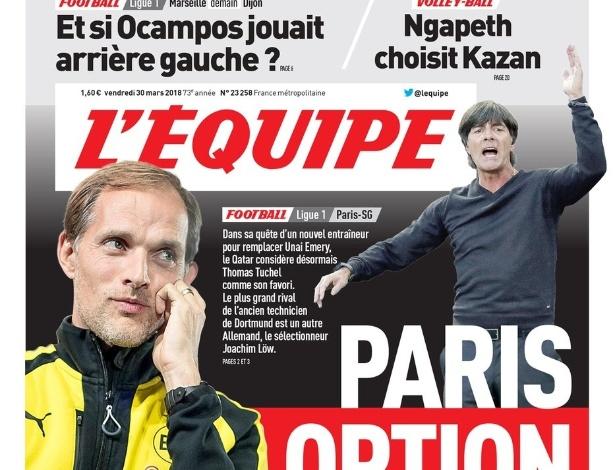 Tuchel e Low foram estampados em capa de jornal: PSG busca treinador