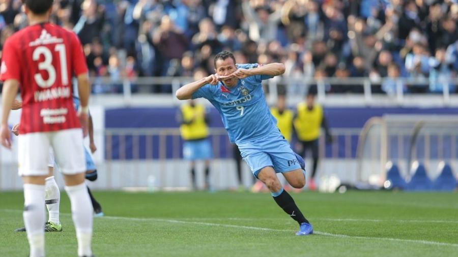 Leandro Damião marcou o gol do título na estreia pelo Kawasaki Frontale - Divulgação/Kawasaki Frontale
