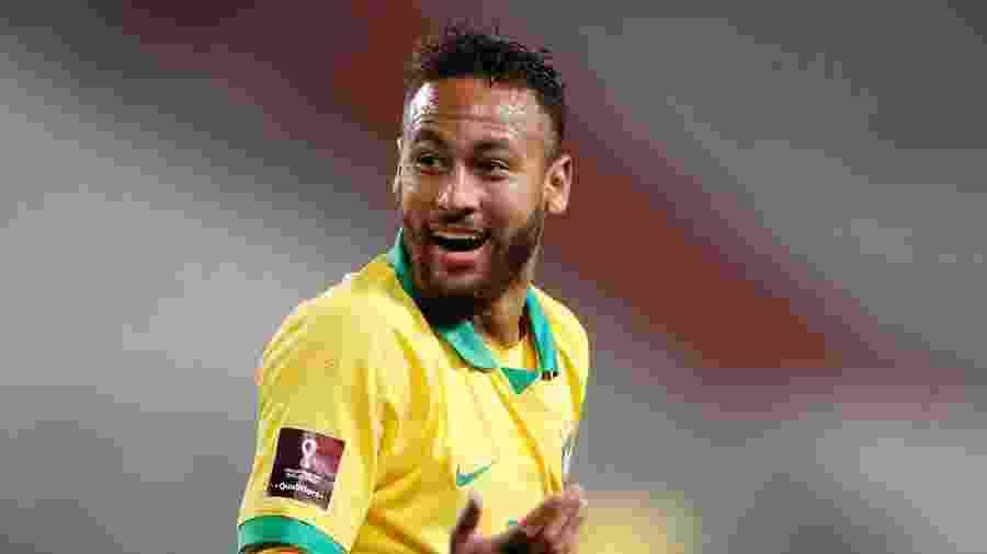Neymar em ação com a camisa da seleção brasileira nas Eliminatórias da Copa de 2022 - Paolo Aguilar/Pool via REUTERS