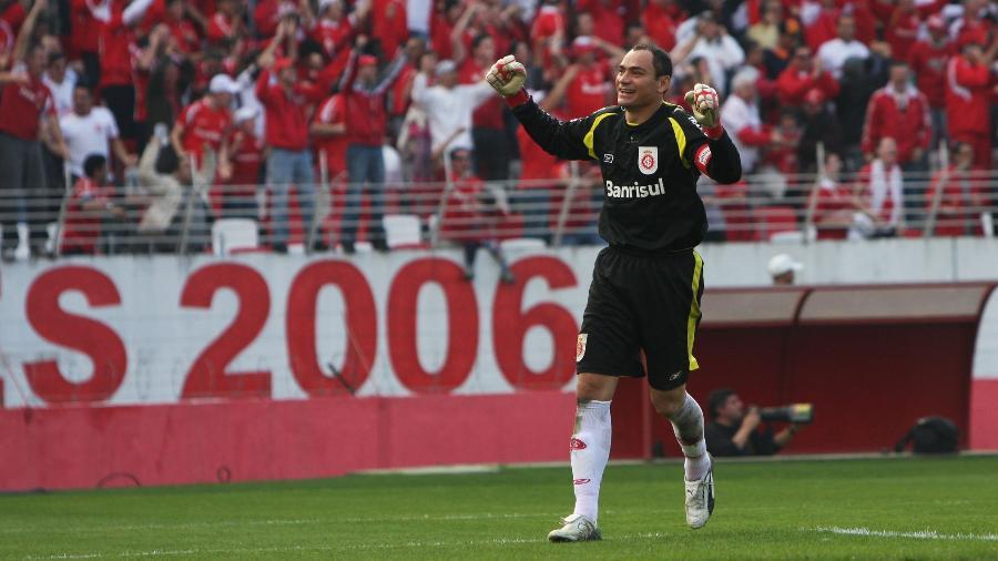 Clemer marcou o oitavo gol do Inter contra o Juventude, na histórica final do Gauchão de 2008 - Wesley Santos/Folha Imagem