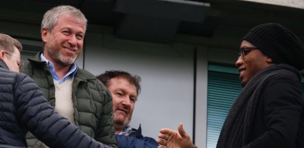 Didier Drogba e Roman Abramovic em Chelsea x Arsenal